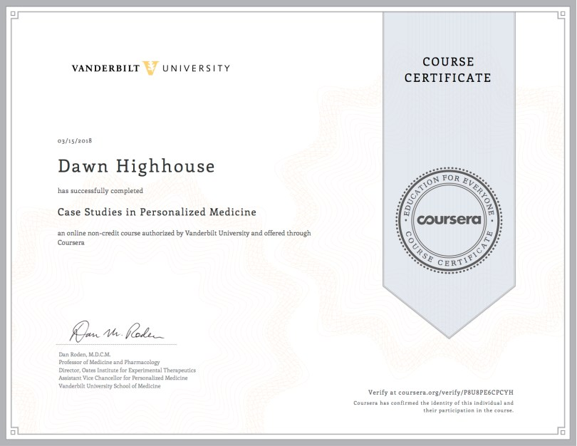 Case studies in Personalized Medicine Cert