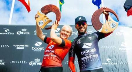 Dobradinha brasileira domina topo do pódio do surfe na Austrália
