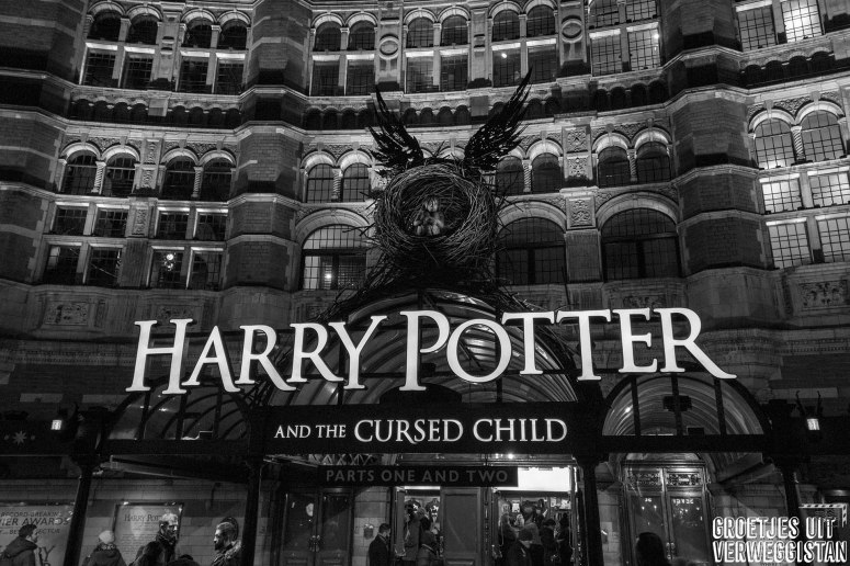 Voorzijde van Palace Theater in Londen, waar Harry Potter and the Cursed Child speelt.