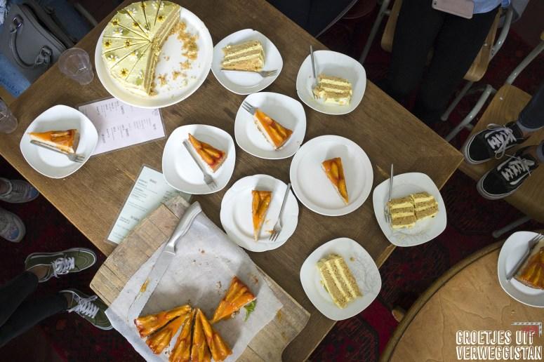 Restaurants in Groningen: vegan taart van Anat in Groningen bij het Noorderplantsoen.