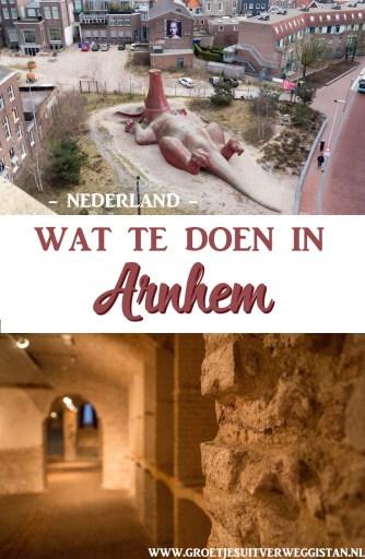 Het Feestaardvarken van bovenaf en de historische kelders van Arnhem met tekst erover voor Pinterest: wat te doen in Arnhem