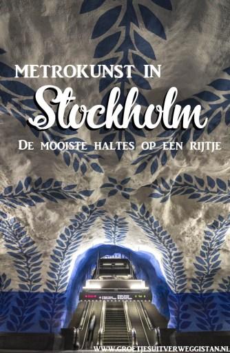 Subway art: de mooiste metrokunst in Stockholm kun je vinden in T-Centralen: wit-blauw motief met wijnranken bij de blauwe lijn.