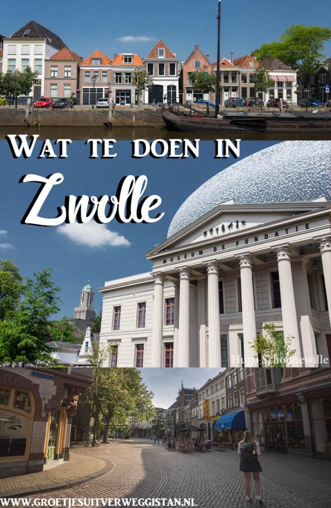 Pinterestafbeelding: foto's van straten in Zwolle en Museum de Fundatie
