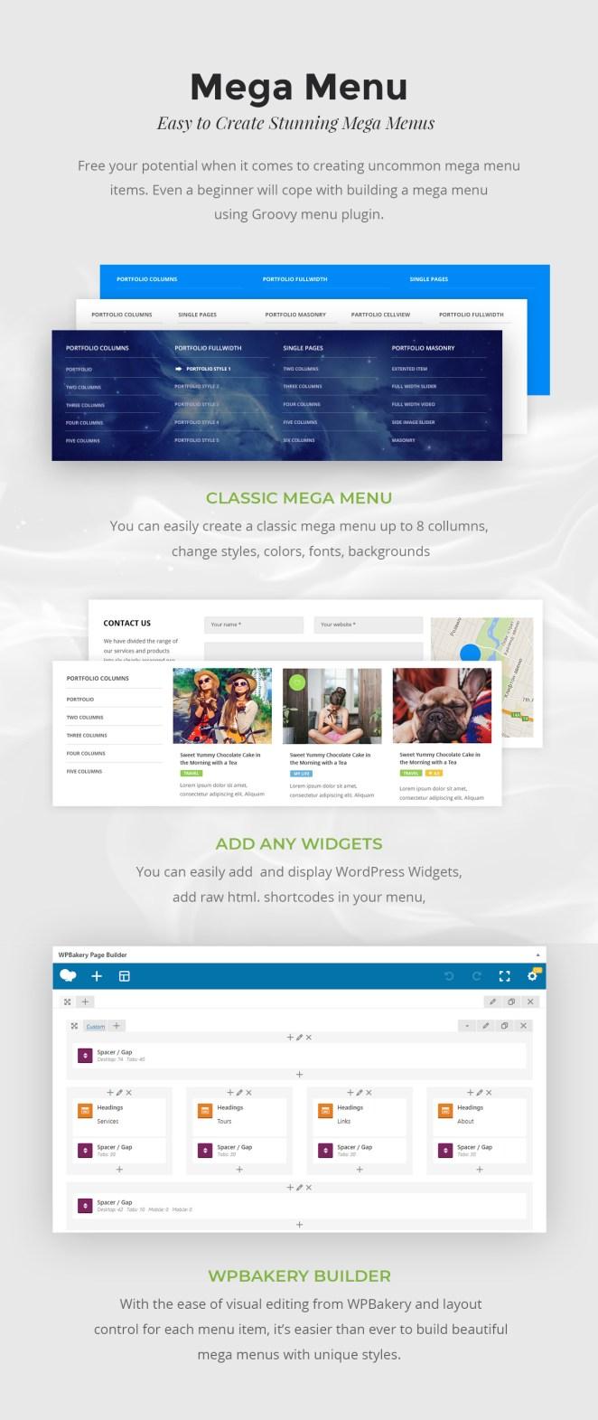 Mega Menu WordPress Plugin, WPBakery, Elementor, Beaver Builder, SiteOrigin, Visual Composer widgets