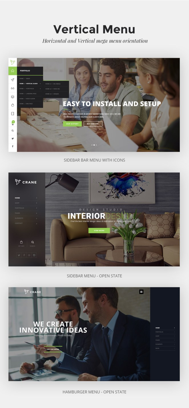 Vertical Menu, horizontal menu theme WordPress
