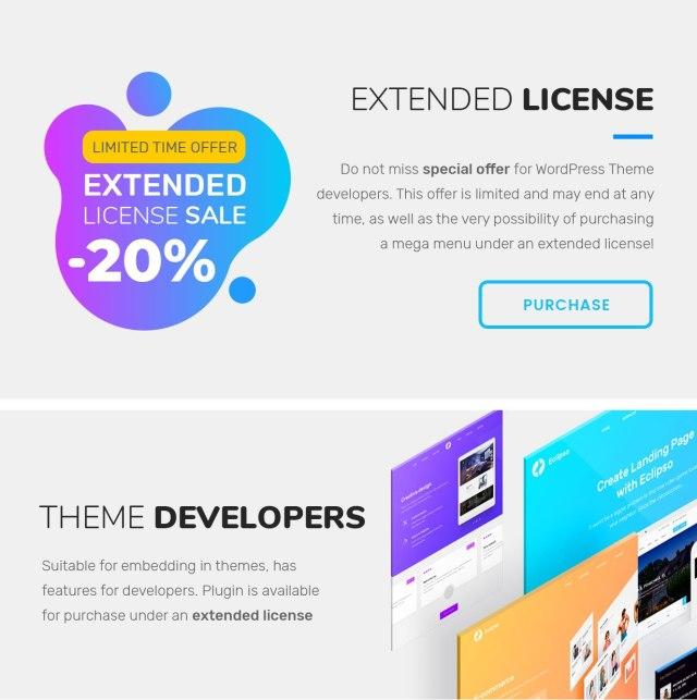 wordpress mega menu extended license for theme developers