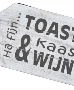 WoodArt houten dienblad label antique white toast kaas en wijn