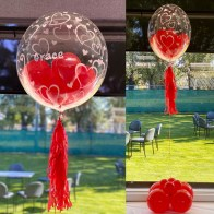 Personalised Red Bubble balloons with balloons and tassels