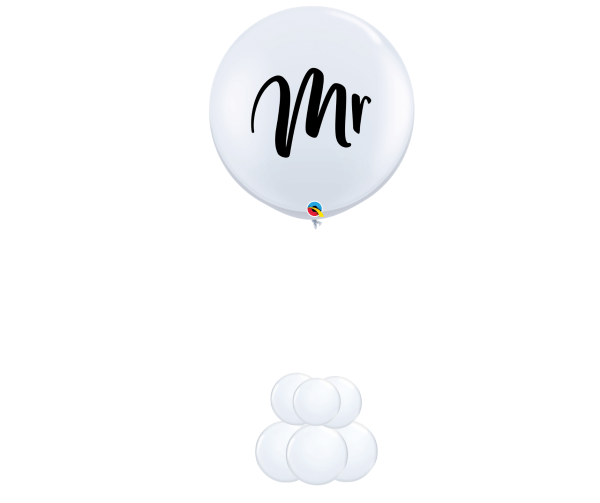 """3ft """"Mr"""" helium in white"""