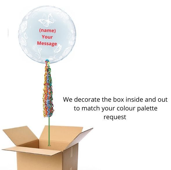 Rainbow Flowers and Butterfly Bubble pop up box gift delivery