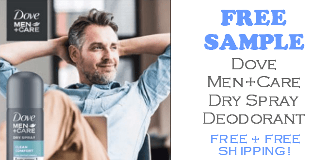 Dove Men Care Dry Spray Deodorant FREE SAMPLE