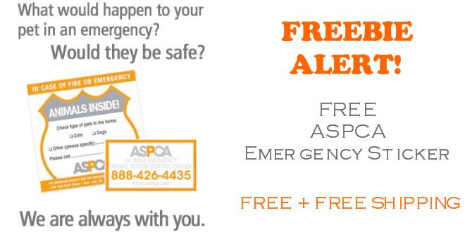 FREE ASPCA Pet Emergency Sticker