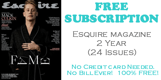Esquire Magazine FREE 2 Year Subscription