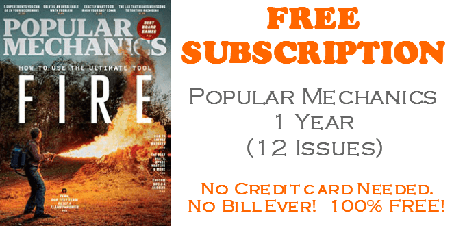 Popular Mechanics FREE Subscription - 1 Year