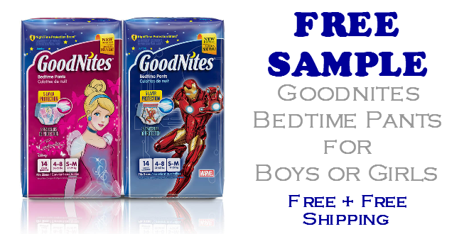 Goodnites Bedtime Pants FREE SAMPLE