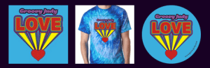 Groovy Love Pack - Love CD, Blue Swirl Tie Dye T-Shirt, Love Sticker