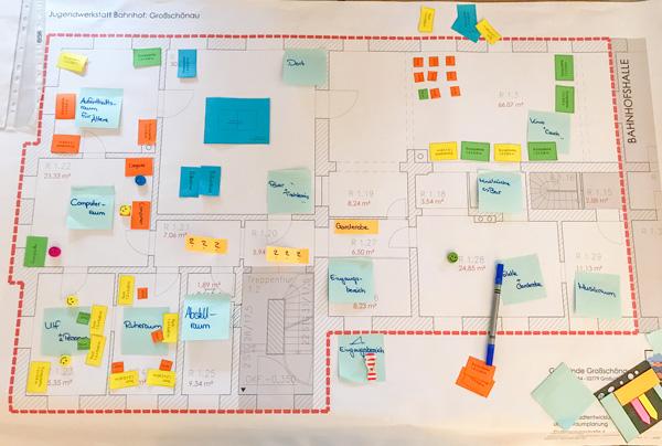 Plandarstellung Tisch1: Gestaltungsvorschlag zum Jugendtreff im Bahnhof in Großschönau
