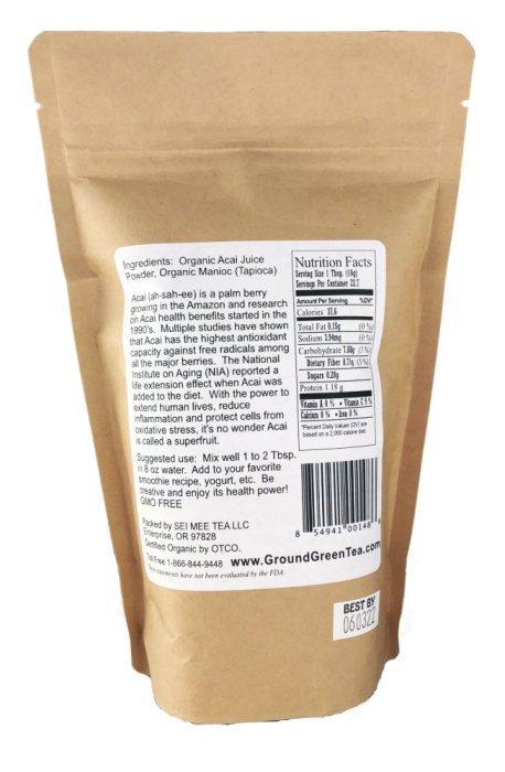organic acai powder back