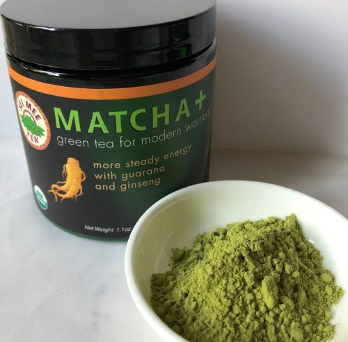 organic matcha with organic ginseng powder and container