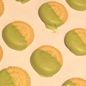 matcha chocolate-coated shortbread cookies