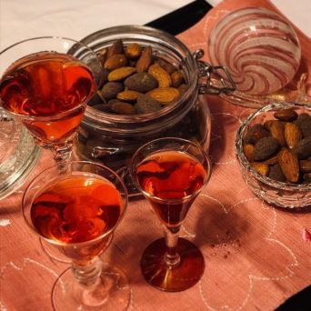 spiced-matcha almonds and green tea mocktail