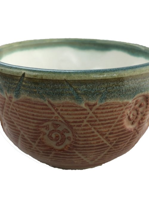 Handmade Tea Bowl - Orange + Teal Rim