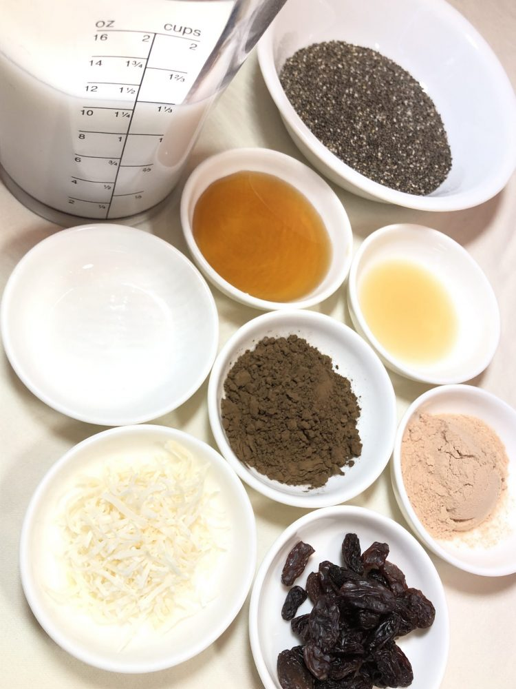 hojicha chia pudding ingredients