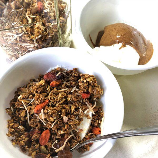 matcha ginseng granola with Greek yogurt and almond butter