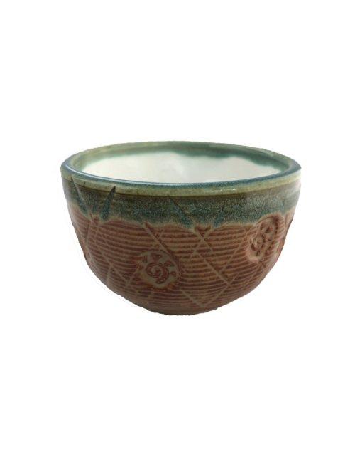 handcrafted tea bowl orange teal