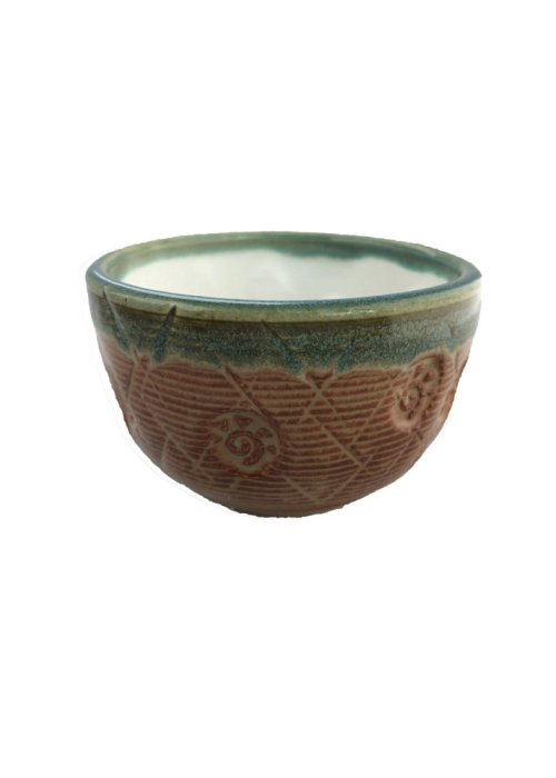 Handcrafted Tea Bowl - Orange + Teal Rim