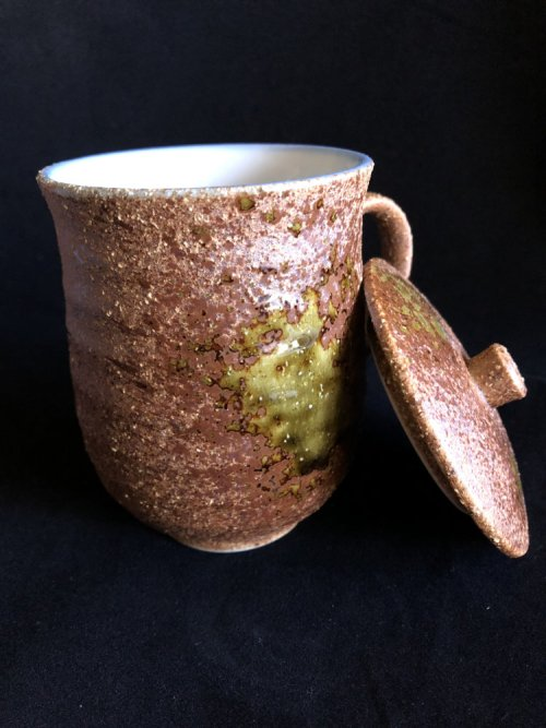 oribe-yaki mug with lid