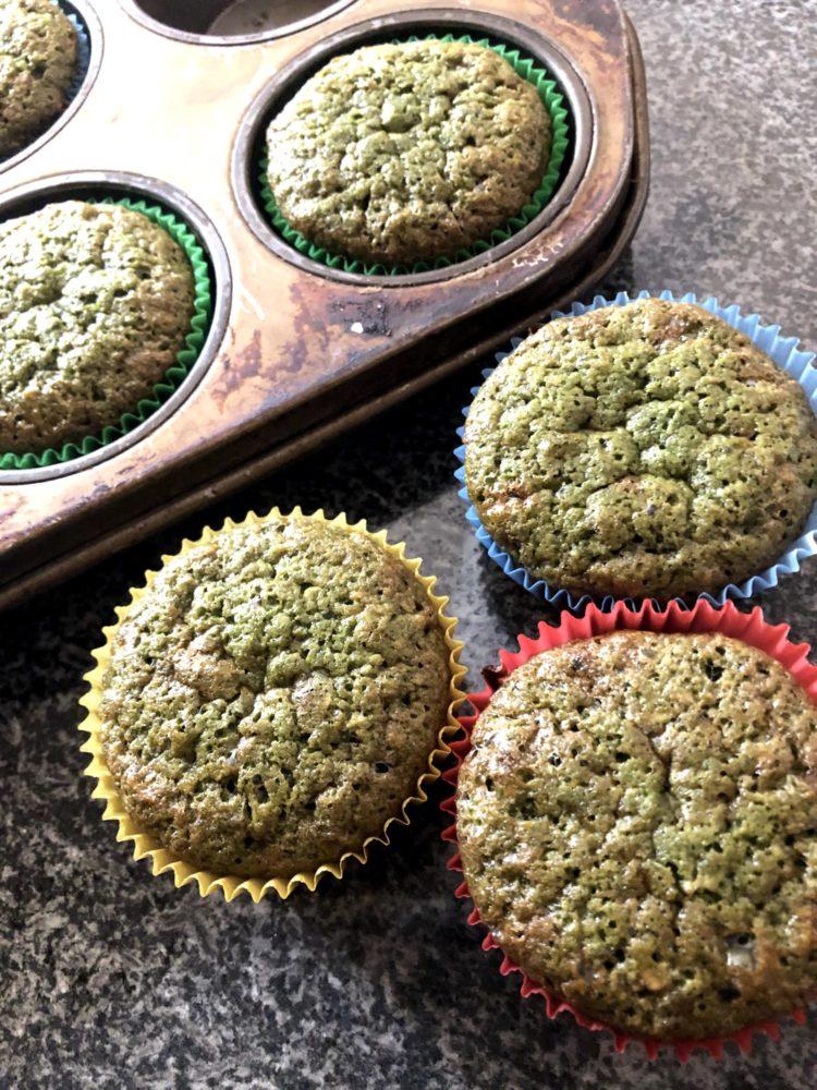 baked matcha muffin
