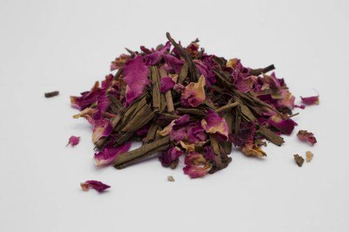 Hojicha Red Rose Afternoon Green Tea Leaves