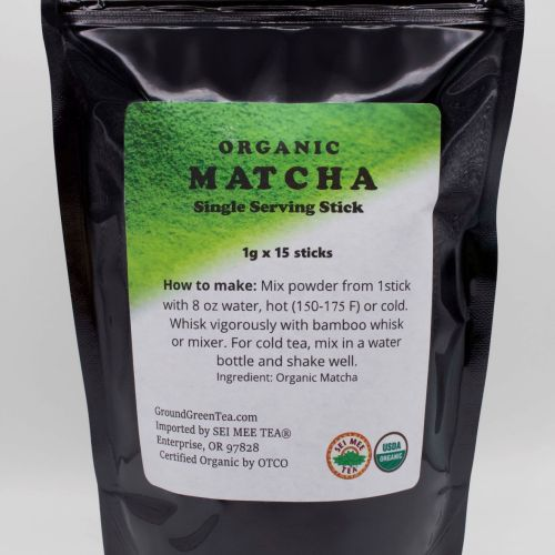 Organic Matcha Single Serve 15 Stick Pouch front view