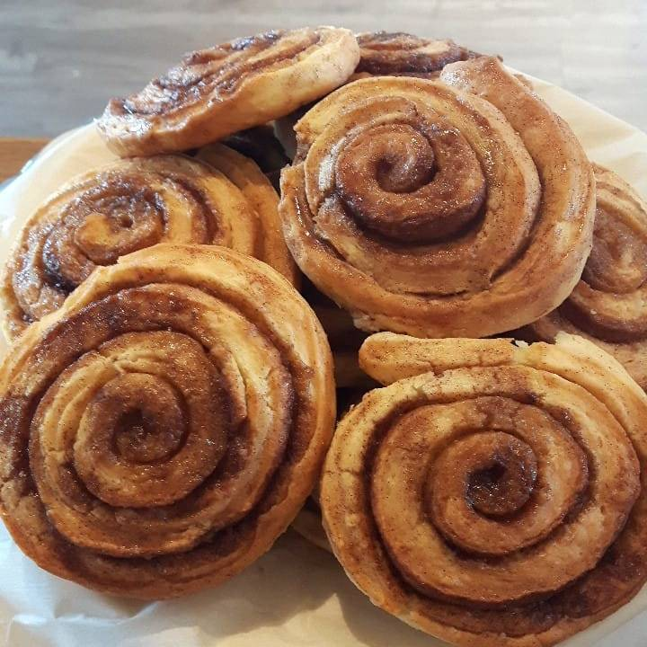 Cinnamon and Brown Sugar Puff Pastry Rolls are available daily. Batches of 6 or more can be ordered a day in advance or try your luck in store but be warned they go fast.