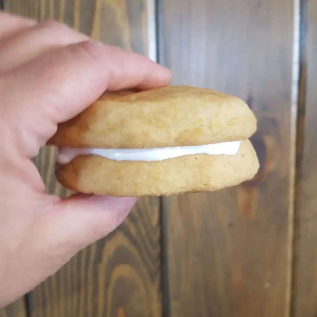 Our Fall inspired baking included Pumpkin Snickerdoodle Sandwich cookies with Marshmallow Filling.
