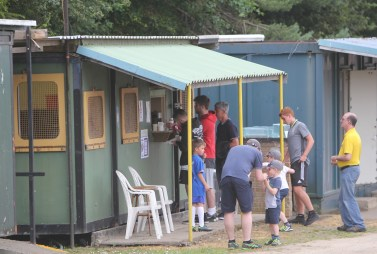 Half-time queue at the tea hut.