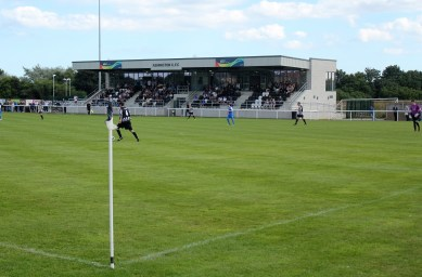 The main stand at Ashington's Woodhorn Lane ground.