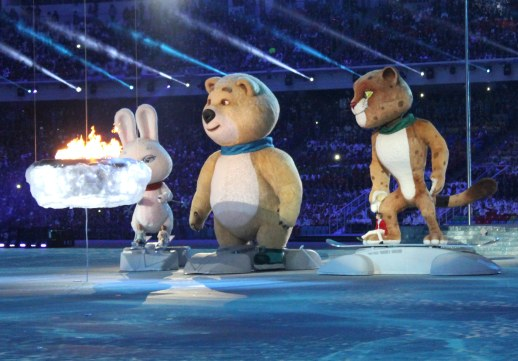 The Olympic mascots at the Sochi 2014 Closing Ceremony.