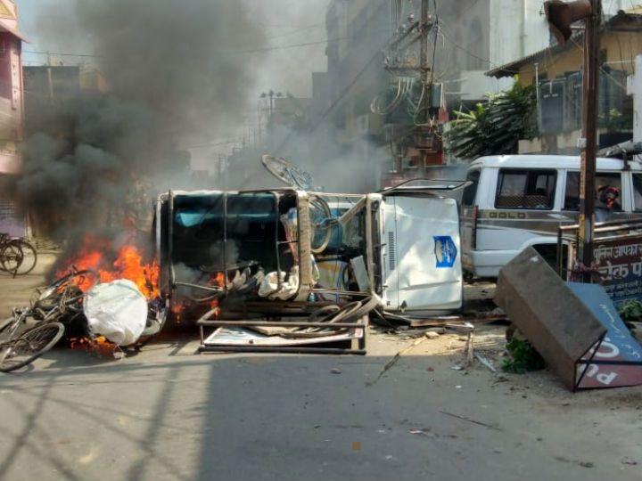 बिहार : मुंगेर में भारी बवाल, भीड़ ने पुलिस चौकी और एसपी ऑफिस फूंका..डीएम-एसपी हटाए गए
