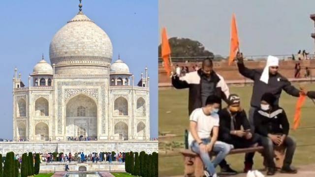 Taj Mahal a Shiva temple 'Tejo Mahalaya', Hindu Jagran Manch hoisted saffron flags in tajmahal premises tajmahal: hindu yuva vahini workers hoists saffron in taj mahal and shouts slogansof-jai shri ram har har mahadev