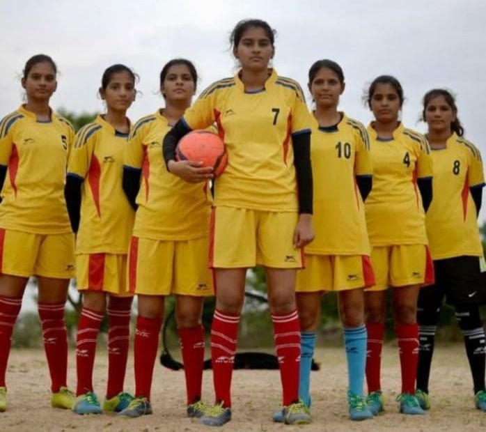 rural women playing football in india