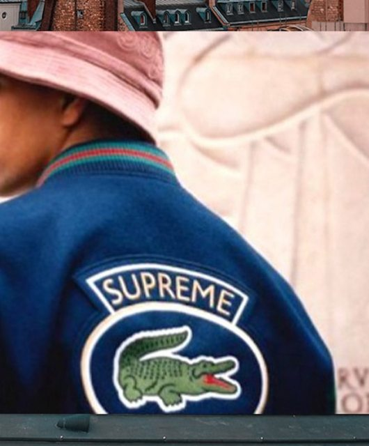 look Lacoste x supreme veste universitaire couverture grounds