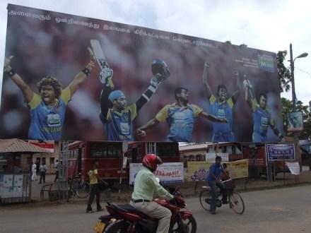 """""""Let's unite to celebrate Sri Lanka Cricket"""" reads the hoarding in Tamil"""