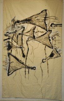 JAGATH-WEERASINGHE-2012-Megaphones-Acrylic-and-charcoal-on-canvas-10-x-6-
