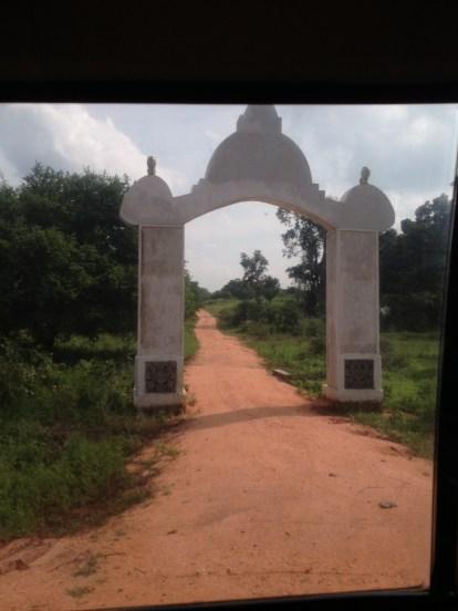 Vavuniya District (North) - A Buddhist Makara Thorana styled gateway to the newly cleared Sinhala settlement re-named Bogaswewa 1,