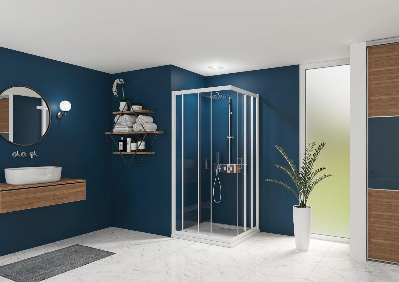 porte de douche smart express coulissante acces d angle profil blanc verre transparent