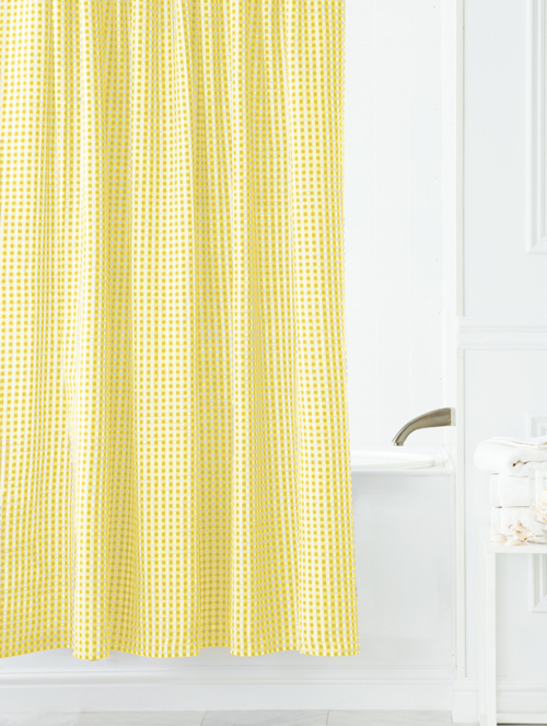 interior design ideas small space gray fabric shower curtains yellow
