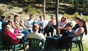 Meeting in circle at Commonground