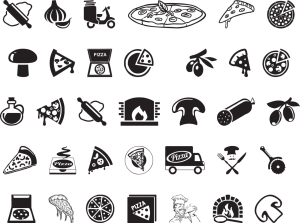icons, pizza, wood stove